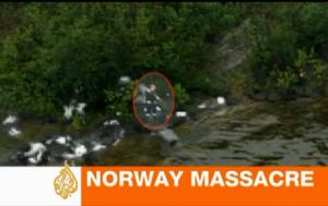 Anders Breivik caminha entre suas vítimas. Imagem: Reprodução de TV